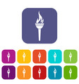 torch icons set flat vector image vector image