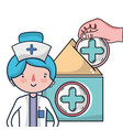 woman doctor and medical cartoons vector image vector image
