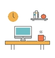 Workplace concept line icons flat vector image