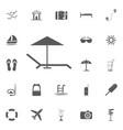 beach umbrella and lounger icon flat vector image
