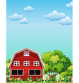 A red barnhouse near the trees vector image vector image