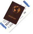 airline passenger boarding pass inside passport vector image vector image