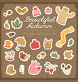 autumn design elements set vector image vector image