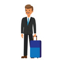 business travel businessman with luggage cartoon vector image