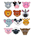 Cartoon animal head icon vector image vector image