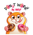 cartoon hamster with donuts vector image