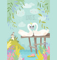 cartoon swans in love fairy tale concept vector image