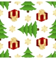 Christmas pattern with gifts and spruces vector image vector image