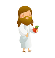 Close-up of Jesus Christ holding fruit vector image vector image