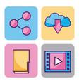 cloud computing digital elements app social media vector image vector image