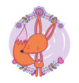 cute and little fox with floral decoration vector image