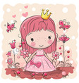 cute cartoon fairy tale princess vector image vector image