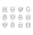 cute chef head outline icon editable stroke vector image