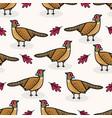 cute pheasant cartoon seamless pattern vector image vector image