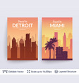 detroit and miami famous city scapes vector image vector image