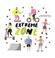 extreme sports cartoons teenager skateboarding vector image