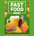 fast food burgers meals and drinks poster vector image