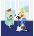 fitness couple exercising in the gym vector image