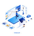 flat color modern isometric design - fitness app vector image