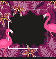 flower flamingo frame 2 vector image