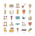 greece icons set cartoon style vector image vector image