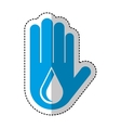hand human with water drop isolated icon vector image vector image