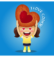 happy woman carrying big strawberry jam cookie vector image