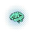 Human brain icon comics style vector image vector image