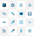 image icons colored set with eyedropper hdr vector image