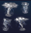 lightning in tornado twister realistic vector image