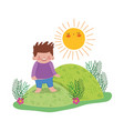 little chubby boy in the landscape vector image