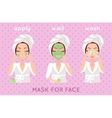 Mask for Face Girl Applying a Face Scrub vector image vector image