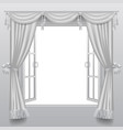 open white double window with classic blinds and vector image