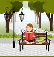 person reading on the park vector image vector image