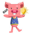 pig with lighting bulb on white background vector image vector image