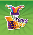 prank box with jester hat fools day card vector image vector image