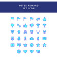 reward and votes filled outline icon set vector image vector image