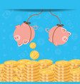saving piggy hanging and coins isolated icon vector image vector image