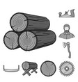sawmill and timber monochrome icons in set vector image