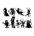 set of halloween silhouettes vector image
