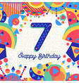 seven 7 year birthday party greeting card number vector image vector image