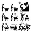 shopping cart trolley do and not human pictogram vector image