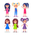 smiling brunette and blonde girls with hairstyles vector image vector image