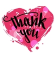 Thank you calligraphy Valentines day card vector image vector image