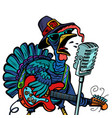 thanksgiving turkey character singer isolate vector image vector image