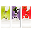 Three fruit and milk labels vector image vector image
