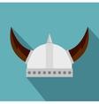 Viking helmet icon flat style vector image vector image