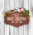 Wooden Placard and Christmas Decoration vector image vector image