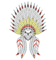 zentangle owl with war bonnet american native vector image