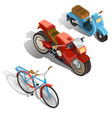 two-wheeled transport isometric set vector image